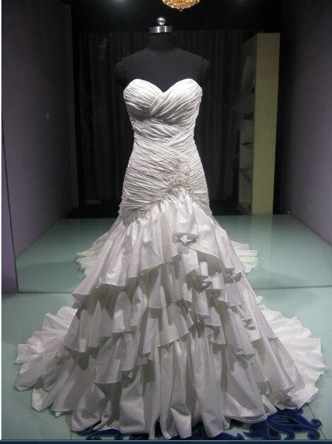 Casamento Sexy Sweetheart Tiered Taffeta Vestido De Noiva Renda 2016 New Ball Bridal Gowns Romantic Wedding Dress Free Shipping