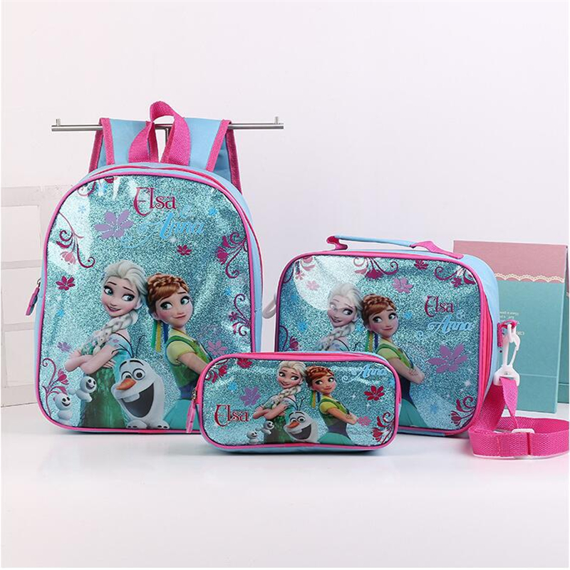 3pcs Princess Disney Children Backpack Lunch Elsa Bag Pencil Cartoon Case Frozen Handbag Girl Boy Gift Bag For School Student