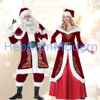 A Full Set Of Christmas Costumes Santa Claus For Adults Red Christmas Clothes Santa Claus Costume Luxury Suit Couples dress фото