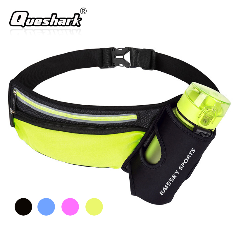 Women Men Marathon Running Waist Bag Hydration Belt Reflective Sport Bag Waterproof Jogging Gym Waist Pack Without Water Bottle