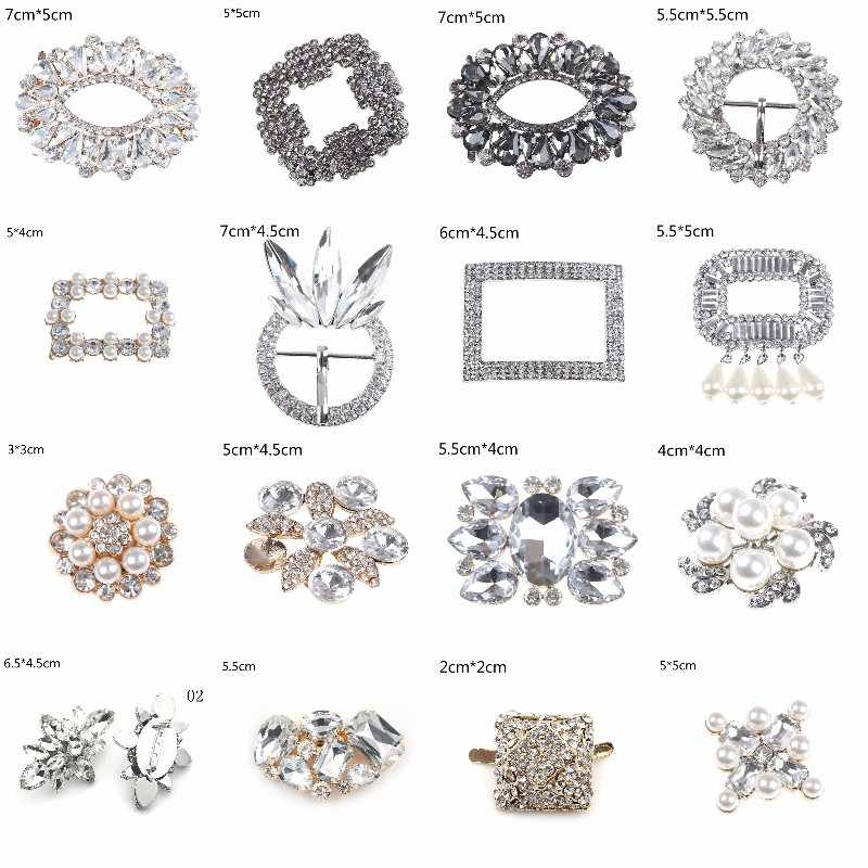 24Styles Crystal Shoe Clip Decoration Faux Pearl Shoe Clips Decorative Accessories Bridal Shoes Rhinestone Clip Buckle