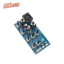 GHXAMP Placa de ajuste de graves agudos EQ, 2 segmentos, equilibrio de tono con micrófono, placa preamplificadora de efecto reverberación, ajuste de potencia cc de 9V 15v
