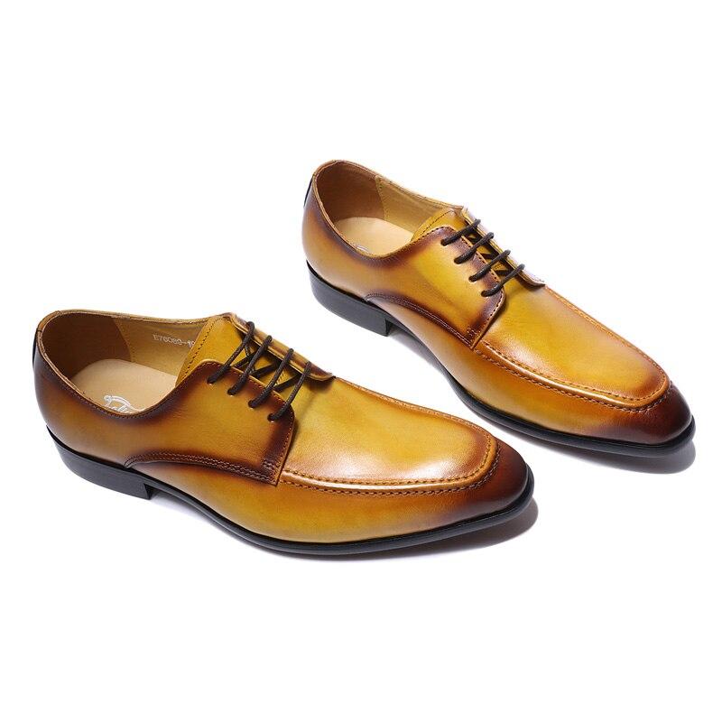 Wielka wyprzedaż prawdziwa prawdziwa skóra mężczyzna Derby buty żółty zwykły Toe gumowa podeszwa na co dzień biznes obuwie męskie buty sukienka Lace w górę w Buty wizytowe od Buty na  Grupa 2