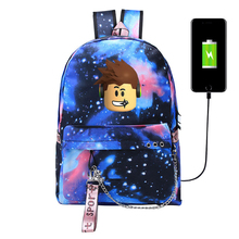 USB Style Robloxer backpack for teenagers Kids Student Canvas School Bags travel Shoulder Bag Unisex Laptop Kid
