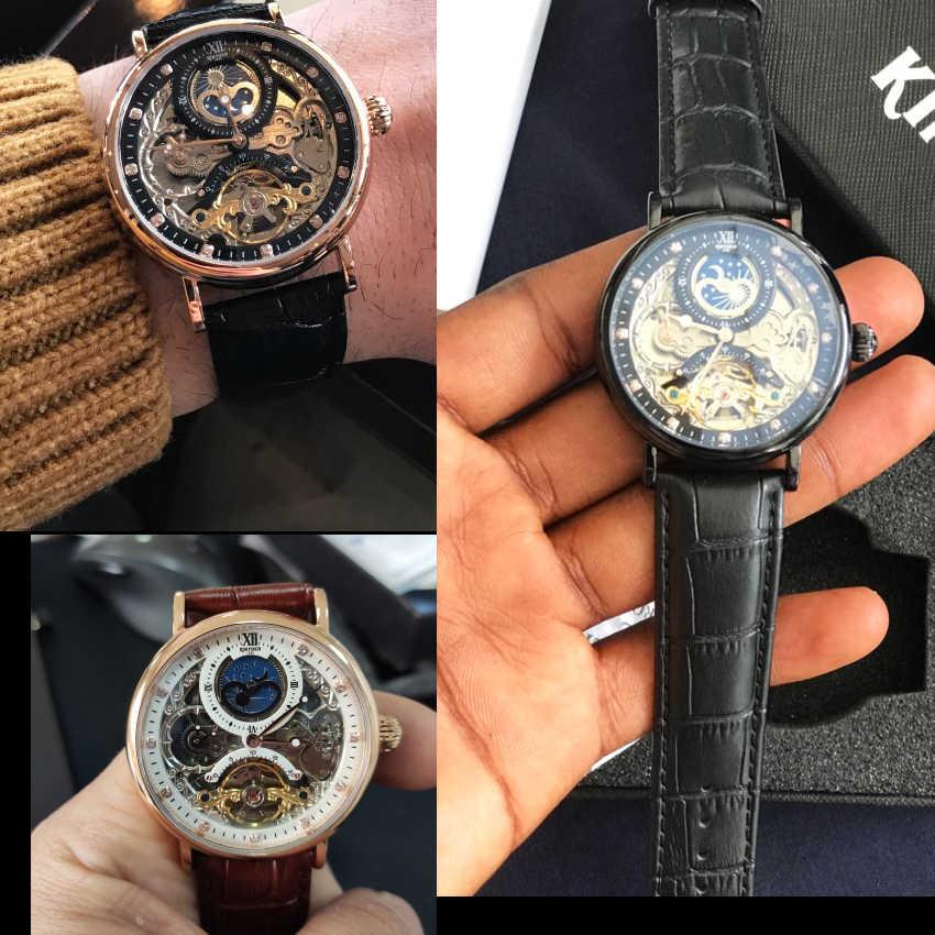 KINYUED Skeleton นาฬิกาอัตโนมัตินาฬิกาผู้ชาย Tourbillon กีฬาธุรกิจลำลอง Moon นาฬิกาข้อมือ Relojes Hombre