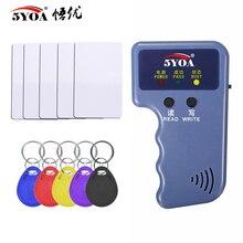 125KHz EM4100 RFID Duplicador copiador portátil, leitor programador replicador gravador + T5577 EM4305 ID regravável cartão de etiquetas de comandos 5200 portátil