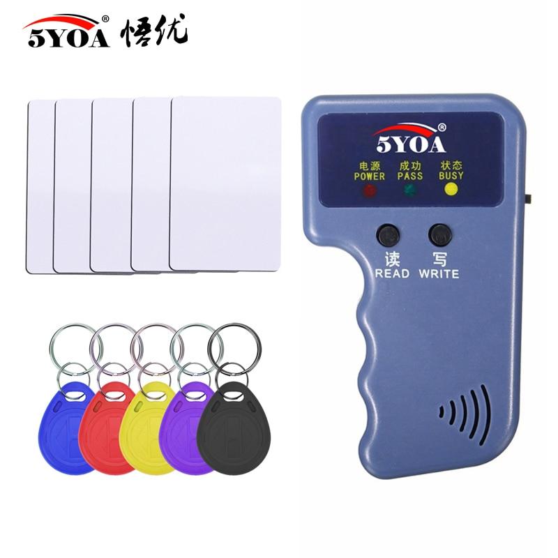 125KHz EM4100 RFID Copier Writer Duplicator Programmer Reader + T5577 EM4305 Rewritable ID Keyfobs Tags Card 5200 Handheld(China)