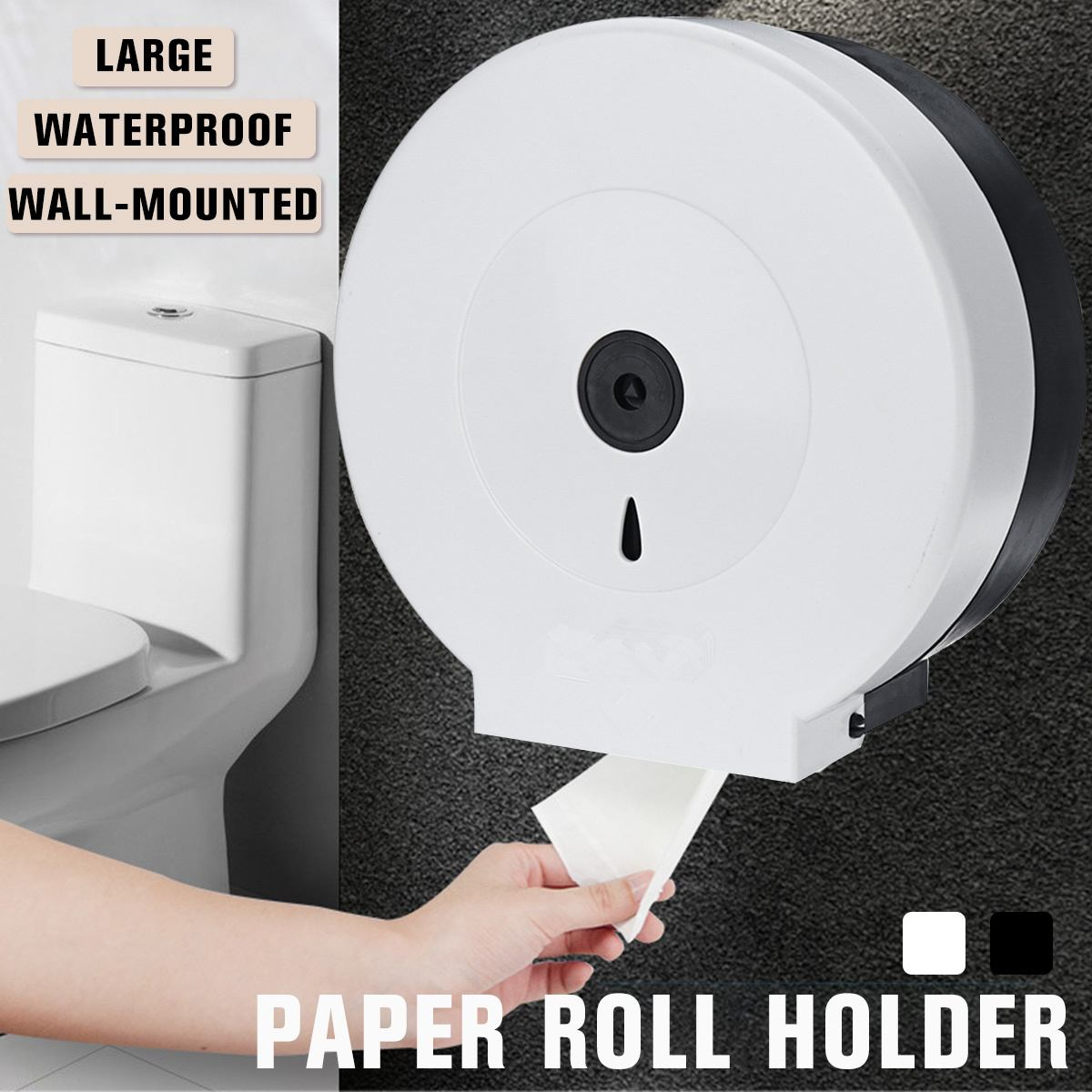 Round Roll Paper Holder Wall-mounted Bathroom Tissue Dispenser Rest Room Waterproof Toilet Paper Holder