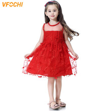 VFOCHI 2019 Girl Party Dresses Color Red Summer Girls Clothes Sleeveless Lace Baby Kids for 3-12Y tutu