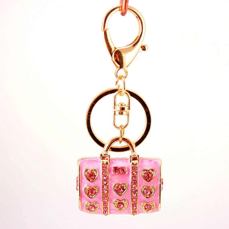 Dalaful אמייל קריסטל לב תיק מחזיקי מפתחות אופנתי ארנק תיק אבזם תליון לרכב מפתחות שרשרות מחזיק נשים K234