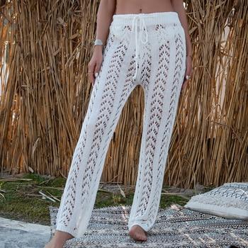 Summer Women Cover Up Pants Sexy Hollow Out Crochet High Waist Mesh Wide Leg Pants Bikini Cover Up Loose Pants 1