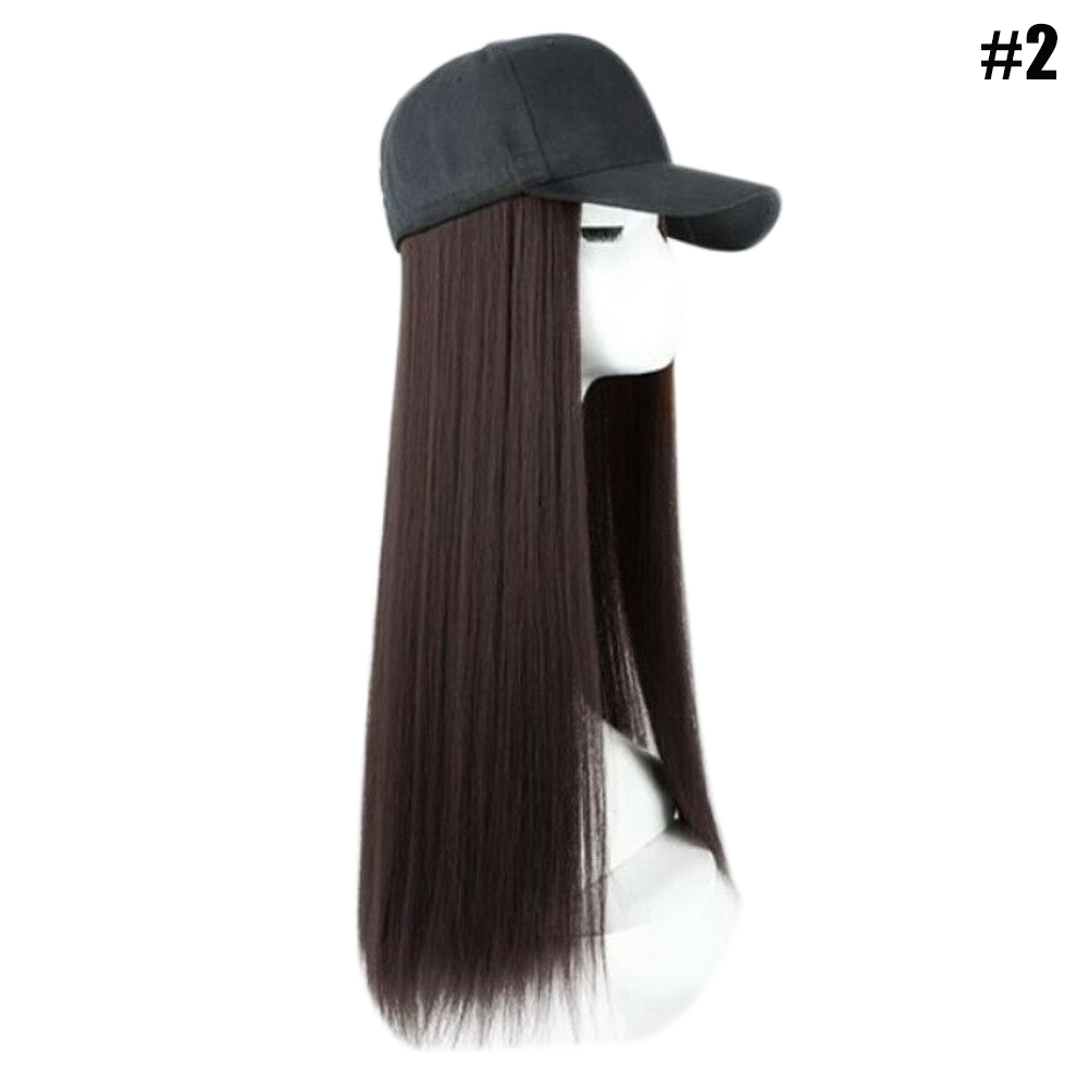 New Hot Baseball Cap With Synthetic Hair Extension Long Hair Hat For Women SMR88