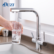 цена на 3 Way Water Tap Chrome Brass Kitchen Faucet Cold And Hot Water Double Handle Kitchen Sink Mixer Tap 360 Degree Rotation Faucet
