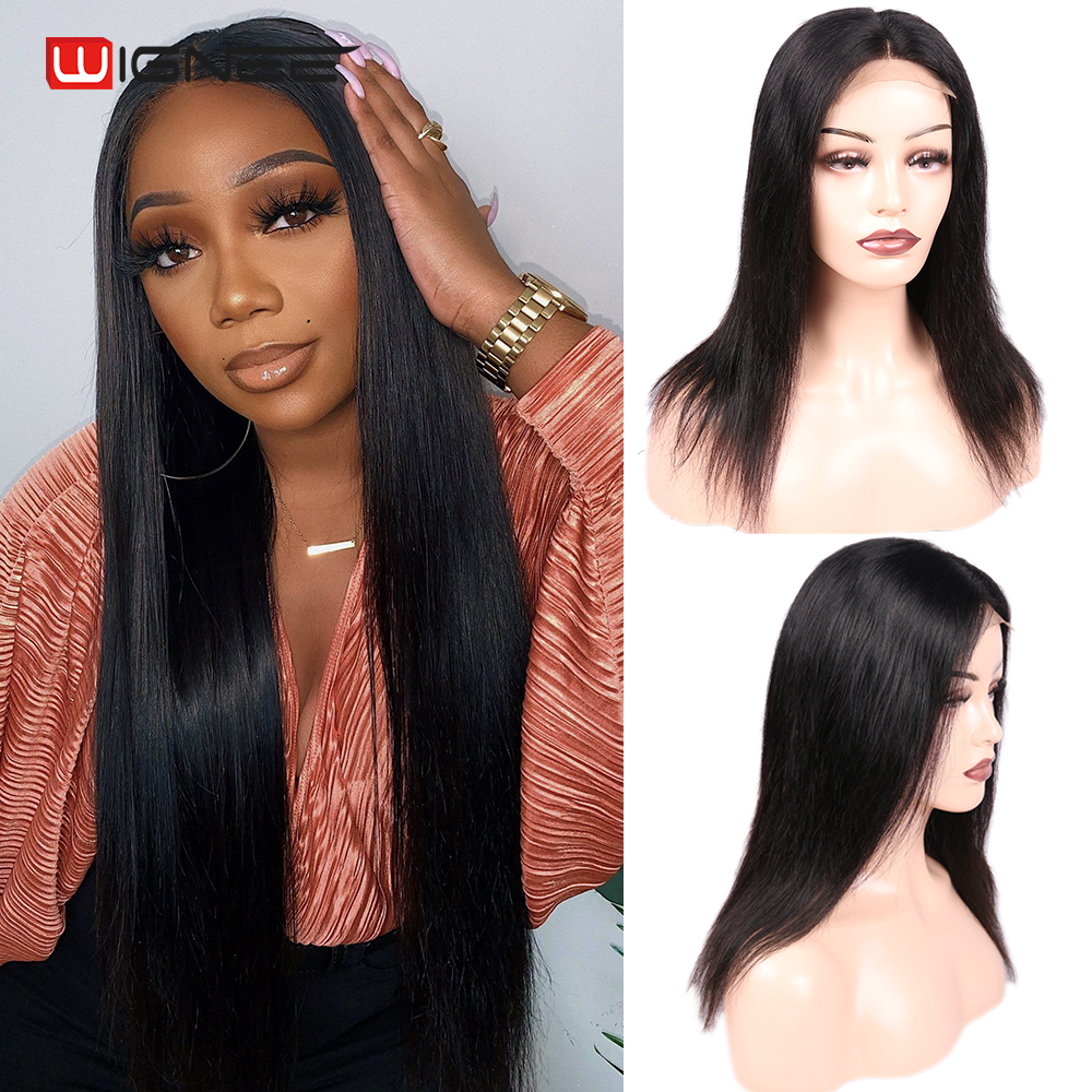Wignee 4x4 Lace Closure Straight Wig Lace Frontal Closure Human Hair Wig Brazilian Hair For Woman Natural Hairline Closure Wig