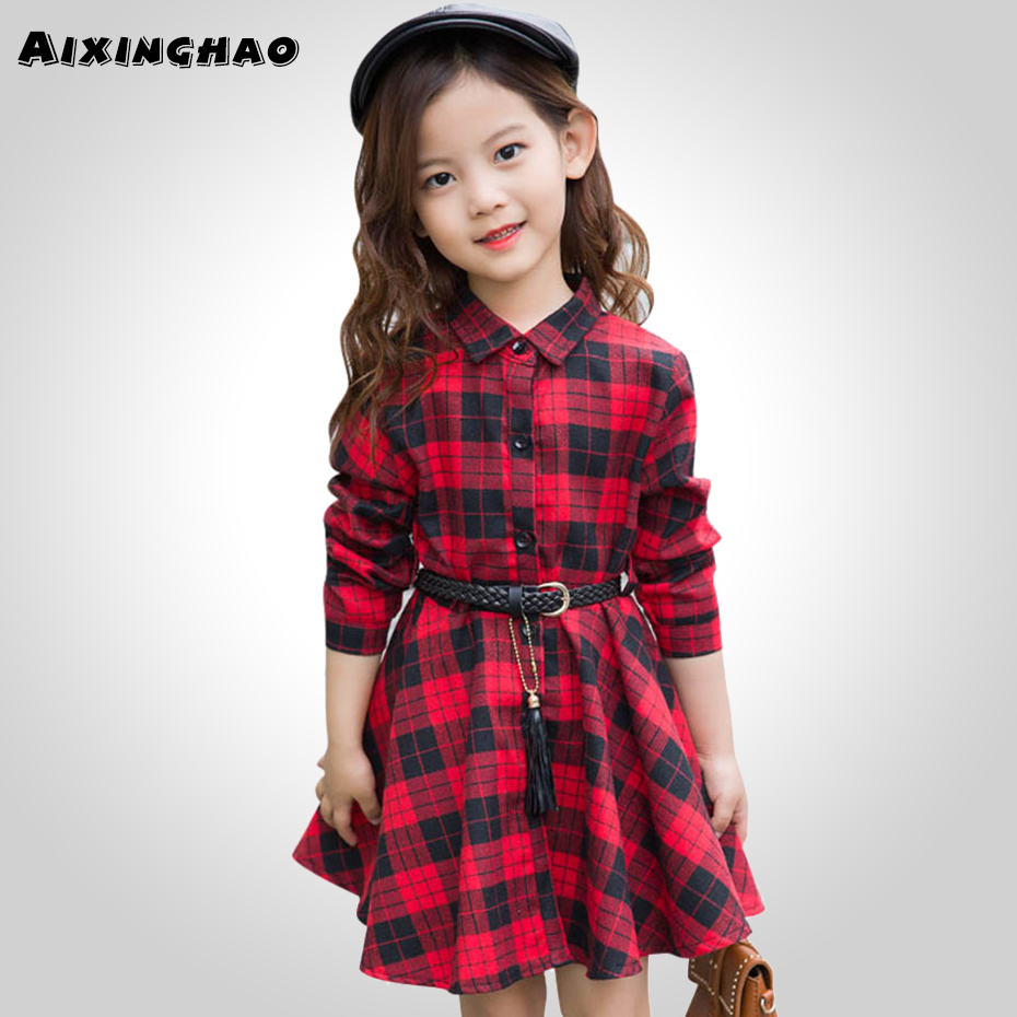 Girl Dress Fashion Plaid Shirt Dress For Girls Single-breasted Kids Party Dress With Sashes Autumn England Clothes For Girls 1