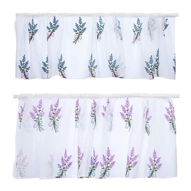 50x100CM/150CM Rod Pocket Embroidered Kapok Flowers Semi Tier Curtain Short Curtain For Kitchen Bathroom Living Room 5