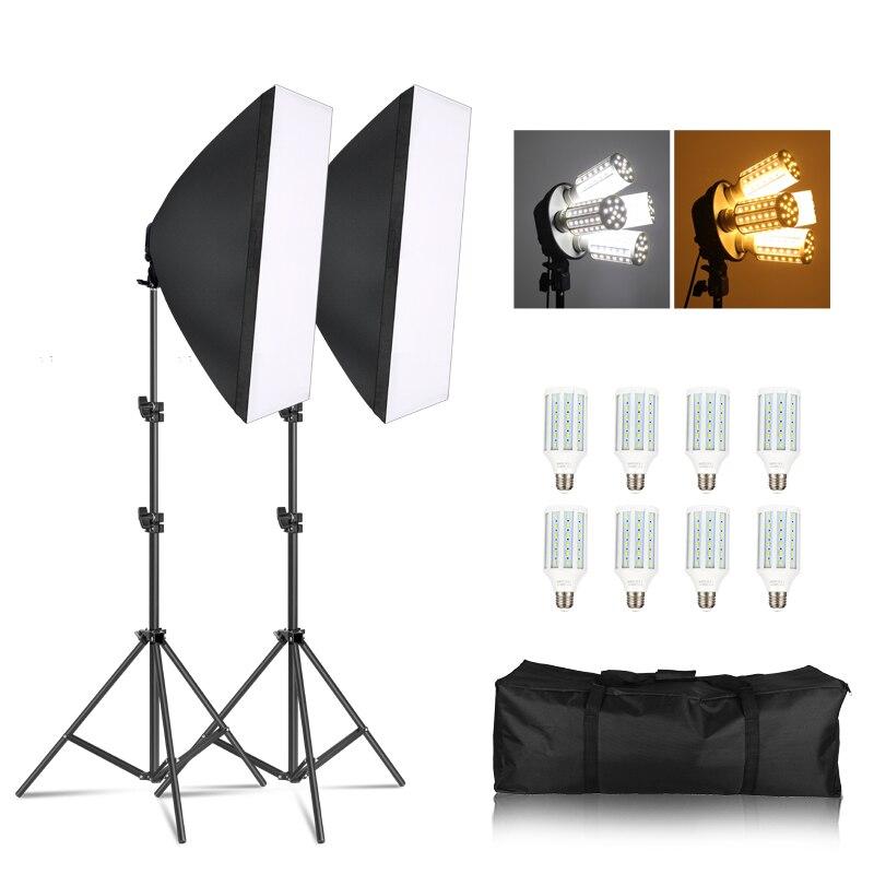 Photographie Softbox Kit d'éclairage lumière pulsée pour Studio Photo 8X20 W maïs ampoule LED 2X support de lumière caméra et accessoires Photo