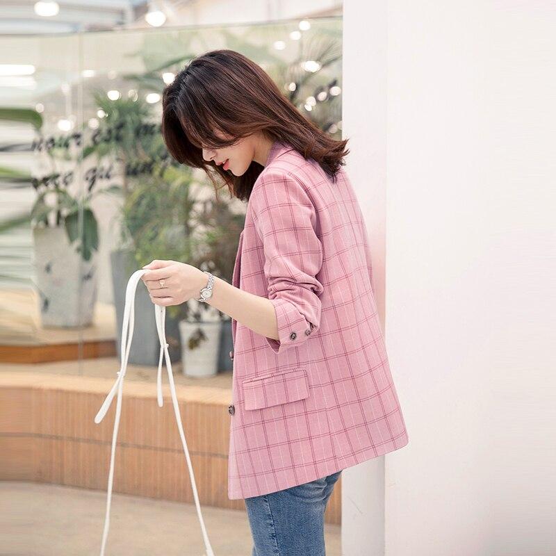Korean Pink Plaid Ladies Blazer Simple Loose Casual Suit Jacket Stylish Abrigos Retro Spring Autumn Women's Clothing MM60NXZ