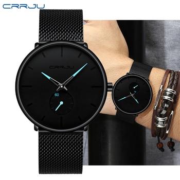 цены Top Brand Luxury Crrju Watch Men Military Quartz Watch Mens Watches Stainless Steel Sports Wristwatch Clock relogio masculino