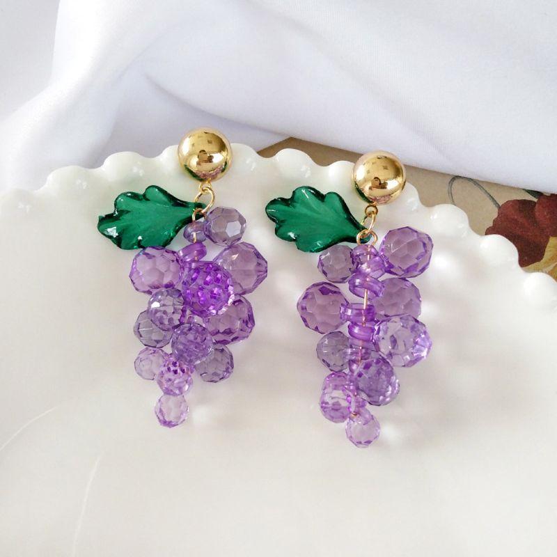 Boucles d'oreilles goutte de raisin violet cristal de verre frais d'été pour les femmes bijoux de mode X4YA
