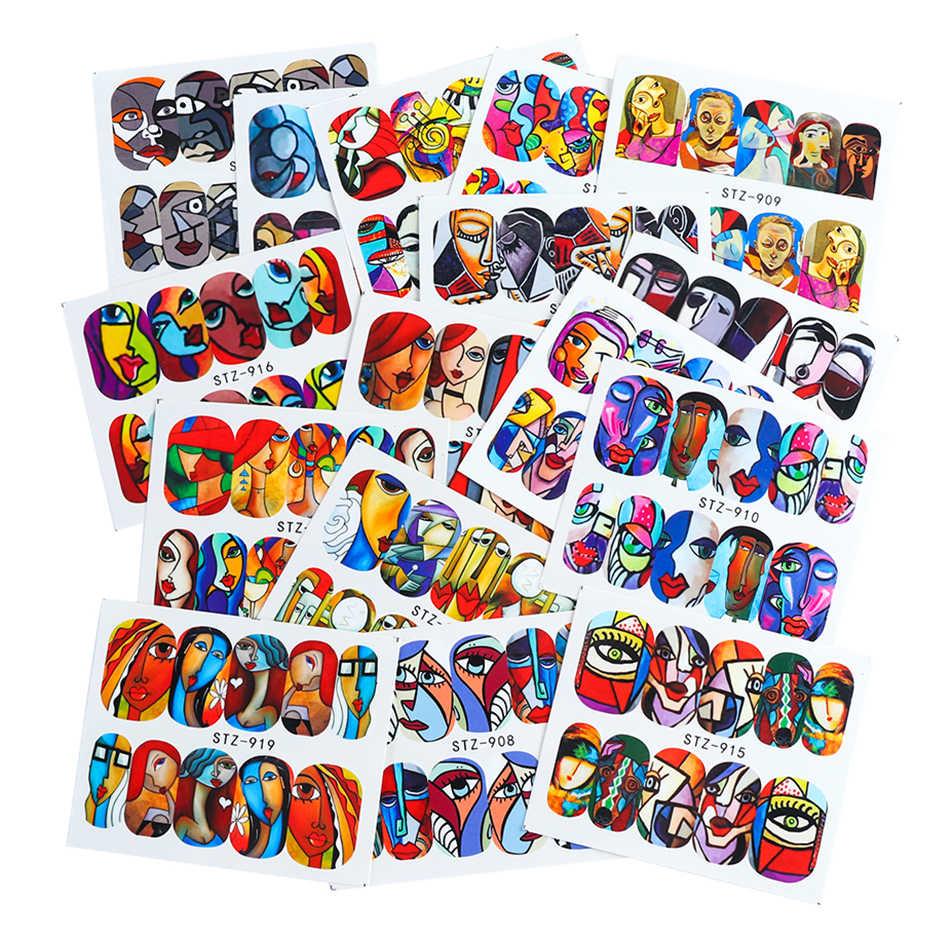 16pcs 다채로운 인간의 얼굴 네일 아트 스티커 전체 랩 세트 소녀 문신 매니큐어 팁 네일 워터 데칼 액세서리 CHSTZ906-921-1