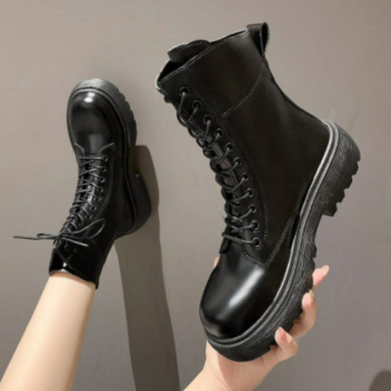 2021 Fashion Women's Motorcycle Boots New PU Leather boots Wedge Heel Women's Lace-up Thick Bottom Boots Black Gothic