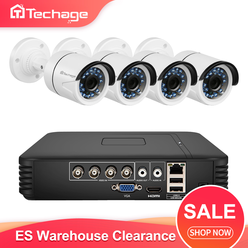 Techage 4CH 1080N AHD DVR Kit CCTV System 720P Camera IR Night Vision Indoor Outdoor Video Security Surveillance Set ES Stock