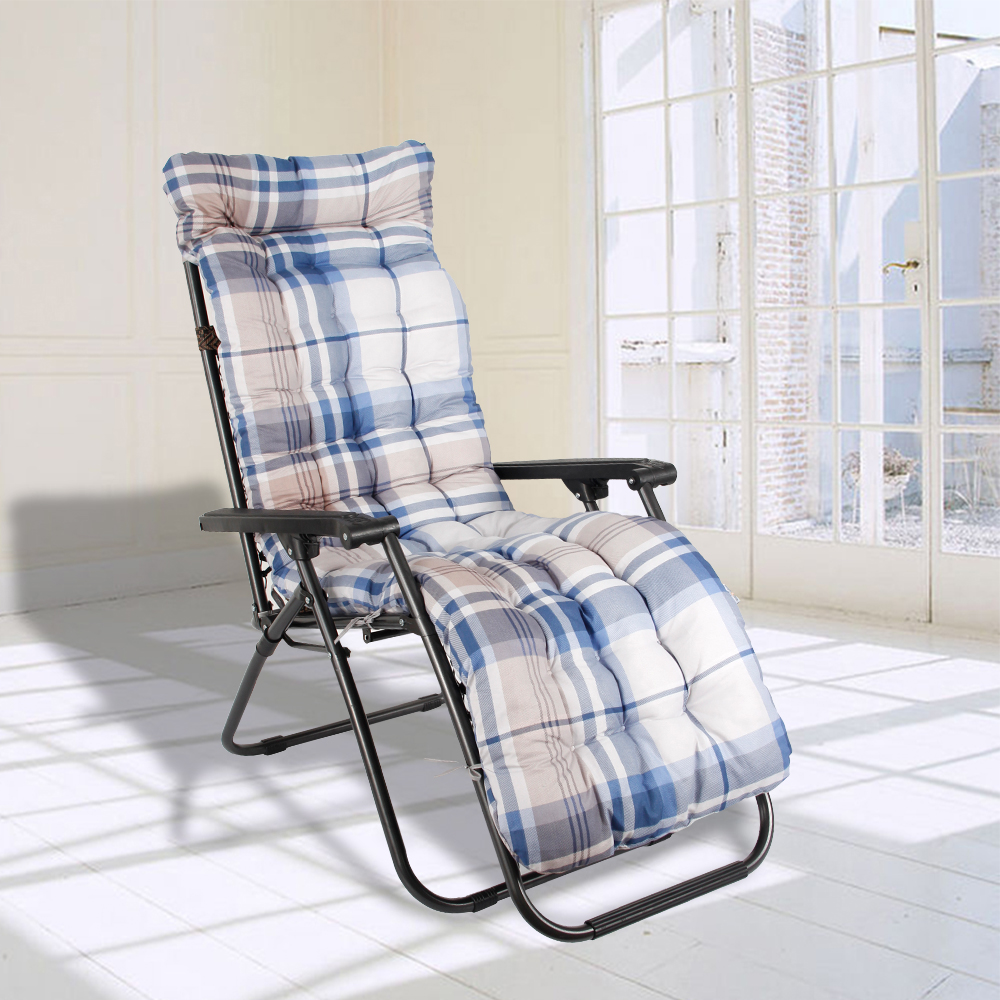 Soft Garden Sun Lounger Cushion Recliner Chair Comfortable Relaxer Pad Outdoor Furniture Long Rocking Chair Seat Mat Plaid