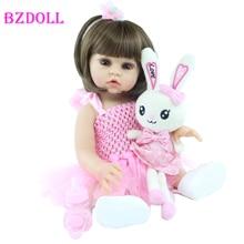 48 CM and 55 CM Full Silicone Reborn Doll Toy Lifelike Alive Soft Vinyl Body Princess Babies Birthday Gift Present Girls Bonecas