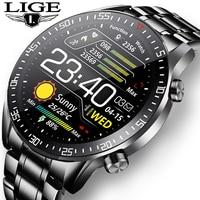 LIGE-reloj Digital con correa de acero para hombre, cronógrafo deportivo, electrónico, LED, resistente al agua, con Bluetooth, novedad de 2021