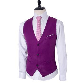 Fast Shipping 3 Color Men's Business Casual Slim Vest Solid Color Single Buttons Vests Fit Male Suit For Men Spring Autumn S-3XL