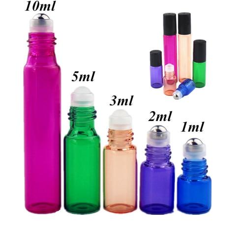 50 pcs lote 1ml 2ml 3ml 5ml 10ml colorido perfume rolo na garrafa com vidro