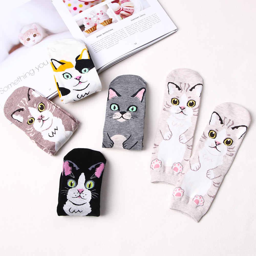 Wanita Kucing Pola Kaus Kaki Gadis Kartun Katun Kaus Kaki Pendek Cetak Kucing Lucu Wanita Kaus Kaki