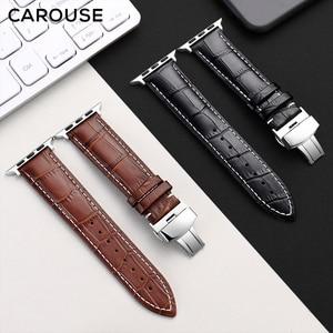 Image 3 - Carouse Genuine Kalbsleder Armband Für Apple Uhr Band Serie SE/6/5/4/3/2/1 38mm 42mm Lederband Für iWatch 40mm 44mm