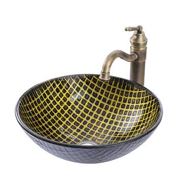 Umywalki szklane umywalki umywalka umywalka umywalki łazienkowe tanie i dobre opinie 4 spread Nie hole ROUND Szkło Ociekaczem Blat umywalki Other Grawerowanie