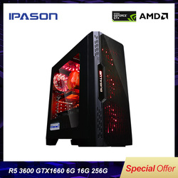 IPASON Desktop PC AMD R5 3600 neue produkt Gewidmet karte GTX1660-6G DDR4 16G RAM 256G SSD für spiel PUBG gaming computer PC