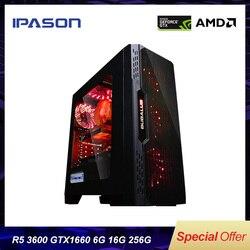 IPASON Desktop PC AMD R5 3600 nieuwe product Gewijd kaart GTX1660-6G DDR4 16G RAM 256G SSD voor game PUBG gaming computers PC