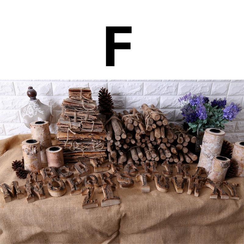 Вместе с коры твердой древесины Ретро Деревянный Английский алфавит номер для кафетерий украшение для дома, ресторана винтажная самодельная буква - Цвет: F