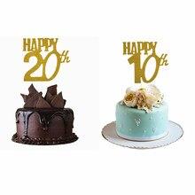 1pc ouro happy10th/20th anos bolo de aniversário toppers festa decoração do chá de bebê cupcake topper aniversário cupcake suprimentos