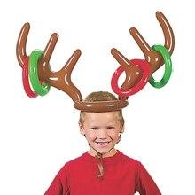 Надувной Санта-Клаус, Веселый олень, Рогатый олень, кольцо для шляпы, Toss, Рождество, праздник, вечеринка, игра, товары, игрушки