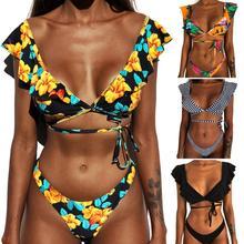 Conjunto de Bikini sexy con estampado de hombros descubiertos, Bikini de talla grande con volantes, traje de baño para mujer, Bikini brasileño, conjunto de Bikini con Tanga bikini brasileño  bikinis 2020 mujer