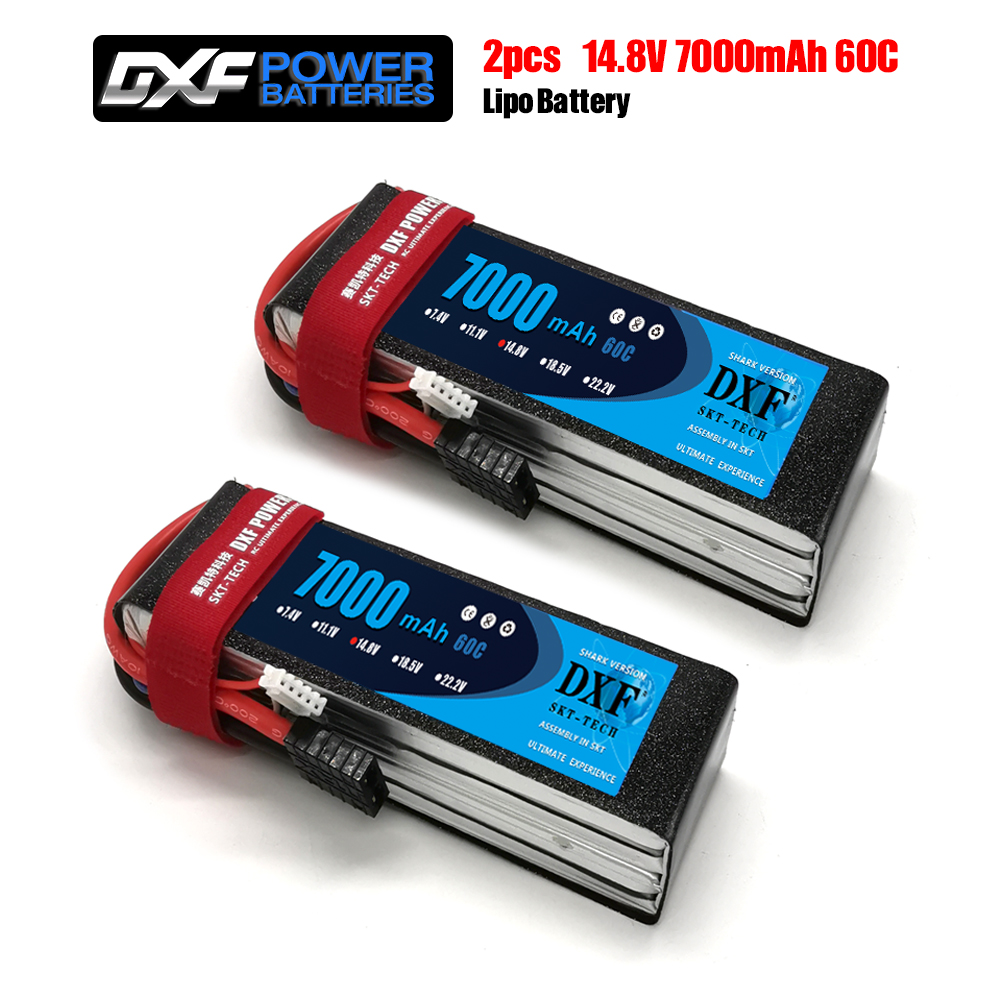 2PCS DXF 2S 3S 4S 7.4V 11.1V 14.8V 7000mAh 60C Lipo Battery RC Parts Hard Case Deans/T For TRX 4 Buggy Cars Airplane Boat