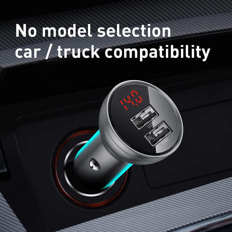Baseus جميع المعادن المزدوجة USB شاحن سيارة 24 واط 4.8A سريع سيارة USB شاحن LED السيارات سيارة شحن محول آيفون شاومي الهاتف المحمول