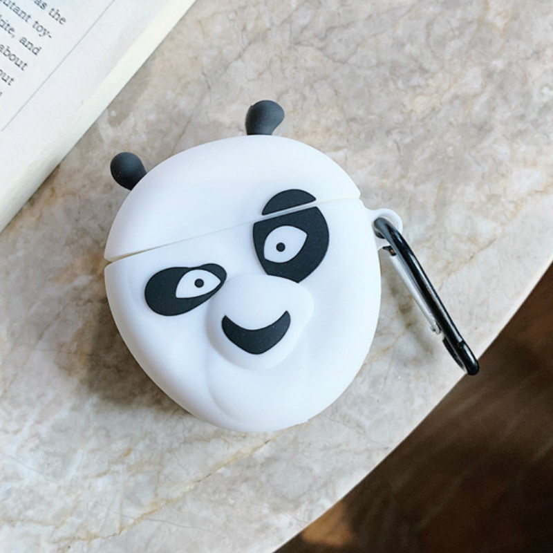 Bluetooth Earphone Case for Airpods Protective Cover for Airpods2 Accessories with Keychain Stereoscopic Cute Kung Fu Panda 3D