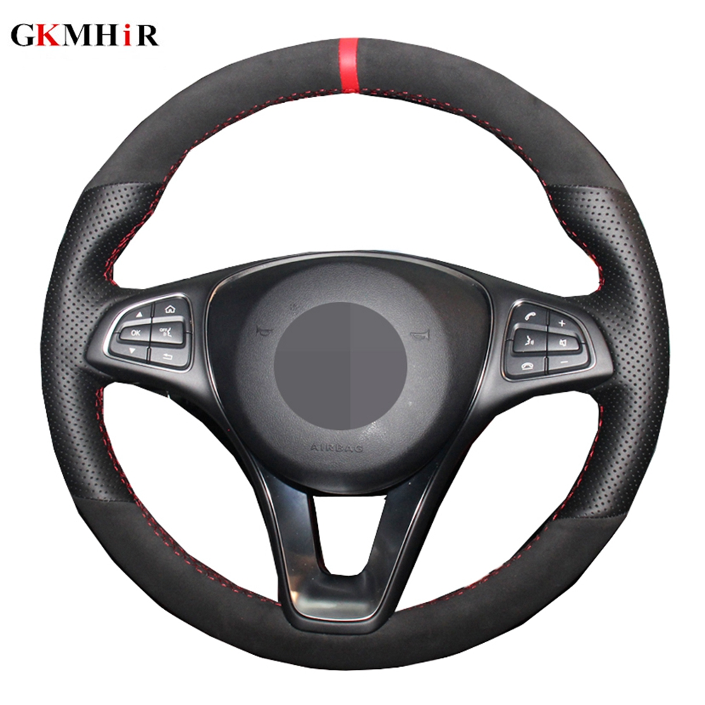 Black <font><b>Car</b></font> Steering <font><b>Wheel</b></font> <font><b>Cover</b></font> Volant For Mercedes Benz C180 C200 C260 C300 B200 Suede Genuine Leather image