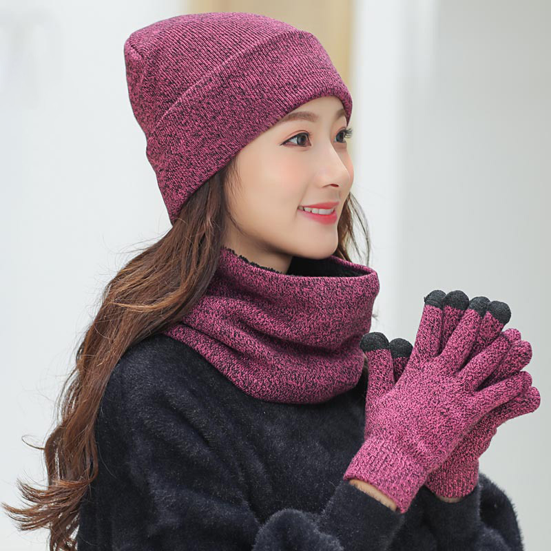 Women Winter Hats Scarves Gloves Set Fashion Knitted Plus Velvet Hat Scarf Kit For Male Female 3 Pieces/Set Beanies Scarf Glove