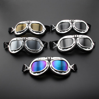 New Vintage Retro Motorcycle Goggles Glasses Vintage Moto Classic Goggles for Pilot Steampunk ATV Bike Copper Helmet motorcycle atv riding scooter driving flying protective frame clear lens portable vintage helmet goggles glasses for 2009 buell xb12r