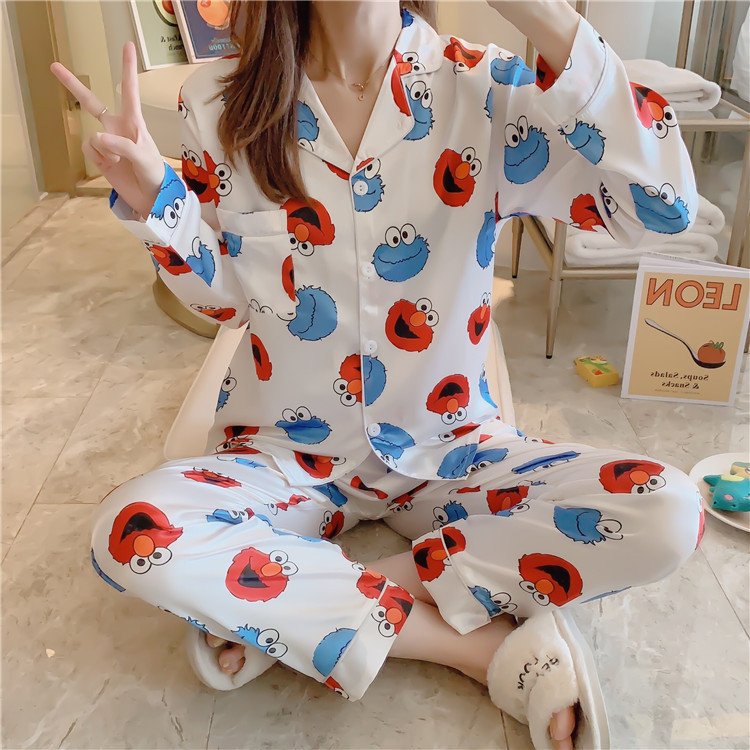 5XL Plus-sized Pajamas Women's Autumn Cardigan Long Sleeve Imitated Silk Fabric Korean-style Printed Cartoon Sesame Street Set