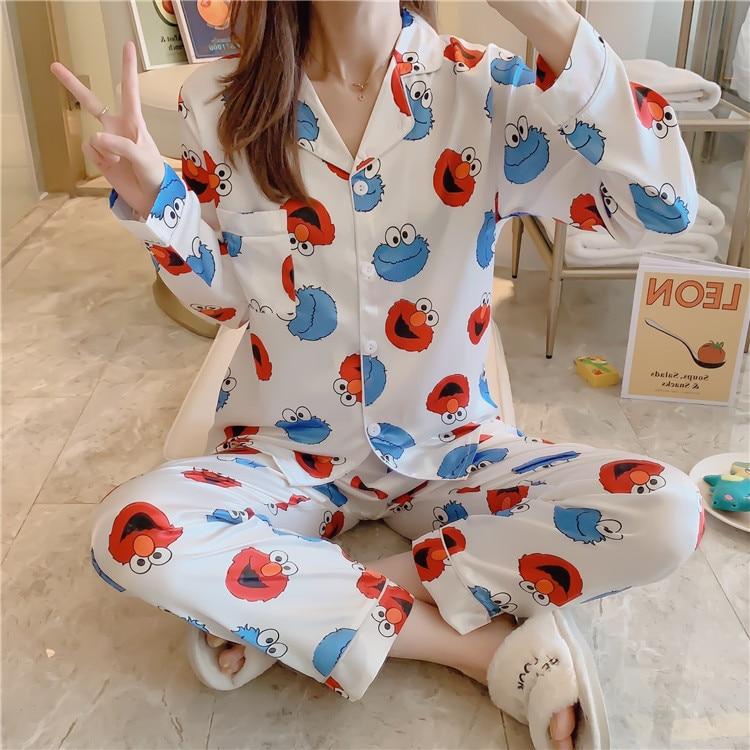 5XL Plus-sized Pajamas Women's Autumn Cardigan Long Sleeve Imitated Silk Fabric Korean-style Printed Cartoon Sesame Street Set