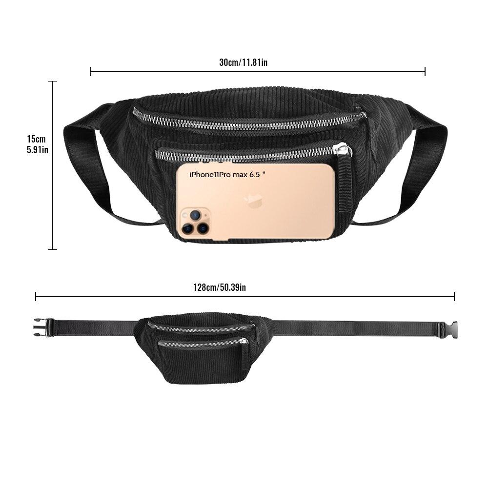 Buylor Waist Pack Fanny Pack For Women Corduroy Designer Belt Bag Chest Bag New Fashion Banana Bum Bag Phone Pouch Travel Bag